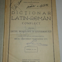 IOAN NADEJDE - DICTIONAR LATIN-ROMAN COMPLET PENTRU LICEE, SEMINARII.. Ed.1927