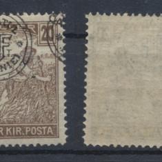 1919 ROMANIA Cluj-Oradea eroare 20 Bani seceratori sursarj dublu si deplasat MNH - Timbre Romania, Nestampilat