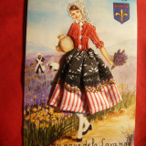 "Ilustrata -""Sous le ciel de Provence"" -femeie in costum popular realizat manual, Circulata, Printata"