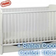 Patut Serena Cu Leganare Alb + Saltea 10 Cm - Patut lemn pentru bebelusi MyKids