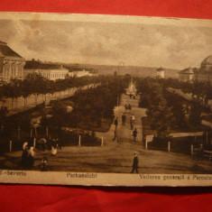 Ilustrata Turnu Severin - Vedere generala a Parcului -ocupatie germana wwI - Carte Postala Banat 1904-1918, Necirculata, Printata