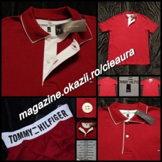 TRICOU GRENA BARBATI 4XL GEN FIRMA TOMMY HILFIGER MANECA SCURTA GULER BUMBAC - Tricou XXXL