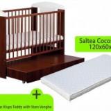 Patut KLUPS Teddy Stars Venghe cu sertar+ Saltea 8cm - Patut lemn pentru bebelusi