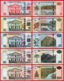SURINAM - LOT COMPLET 5 + 10 + 20 + 50 + 100 DOLARI  2012 - P 162b - 166b - UNC