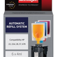 Sistem Kit automat de refill color pentru HP 22 HP 28 HP 57 ActiveJet - Kit refill imprimanta