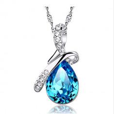 Colier DIAMANT ALBASTRU cristal PICATURA DE APA lantisor pret ieftin dama femei