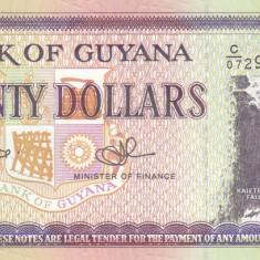 Bancnota Guyana 20 Dolari (2009) - P30e UNC - bancnota america