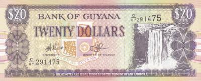 Bancnota Guyana 20 Dolari (2009) - P30e UNC foto