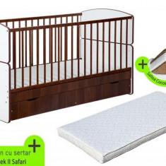 Patut Transformabil Pentru Copii Bartek Ii Safari + Saltea Mykids - Patut lemn pentru bebelusi