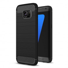 Husa Tpu Carbon Fibre Brushed Samsung Galaxy S7 Edge - BONUS FOLIE ECRAN, Negru, Gel TPU