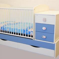 Patut Transformabil Mykids Silence Alb-Albastru Cu Leg 4056 - Patut lemn pentru bebelusi