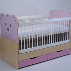 Patut Transformabil Mykids Teddy Natur-Roz Cu Leganare - Patut lemn pentru bebelusi