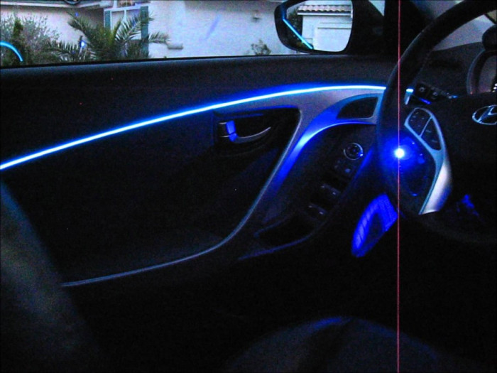 Fir cu lumina ambientala auto neon decorativ flexibil albastru