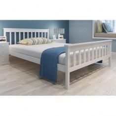 Pat din lemn de pin, saltea din spumă cu memorie 200 x 140 cm, alb