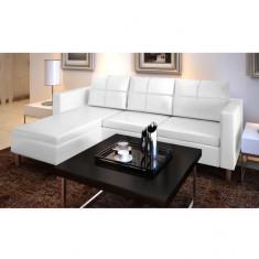 Canapea secțională din piele artificială în formă de L, 3 piese, alb
