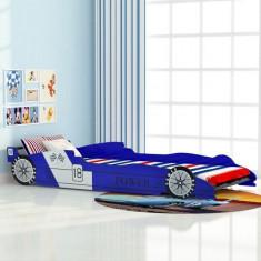 Pat pentru copii în formă de mașină de curse 90x200cm, Albastru - Pat supraetajat pentru copii