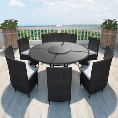 Set masă rotundă și scaune din poliratan 12 persoane, negru