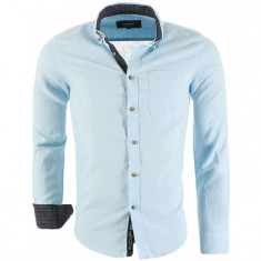 Camasa din In Barbati Carisma Bleu 8387 - Camasa barbati Carisma, Marime: L, XL, XXL, Culoare: Din imagine