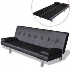 Canapea extensibilă cu două perne, negru