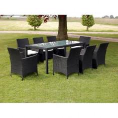 Set mobilier pentru grădină din poliratan, 17 piese, negru - Set gradina