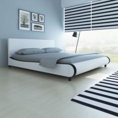 Pat tapițat cu piele artificială 180 cm, alb - Cuvertura pat