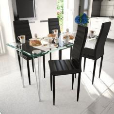 Set 4 scaune de culoare neagră și masă de sticlă - Husa scaun auto