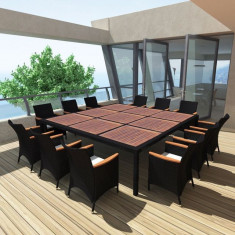 Set mobilier de exterior din poliratan, 200 x 200 cm, negru - accesoriu mobila