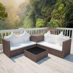 Set mobilier grădină poliratan cu cufăr depozitare Maro - Set gradina