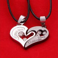 Lantisor, colier, pandativ, Iubire, te iubesc, inima, 2 bucati, I love you