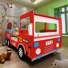 Pat copii maşină de pompieri 200 x 90 cm roşu - Pat supraetajat pentru copii