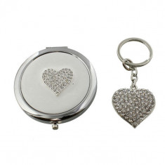 Sophia silverplated Keyring & Compact Mirror Set - Inima - Peruca Dama