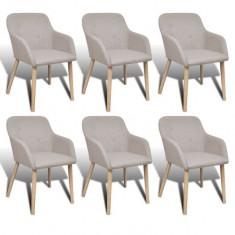 Set 6 scaune de interior din lemn de stejar și stofă cu cotiere, Bej - Scaune sport