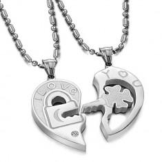 Medalion / Pandantiv / Colier / Lantisor Pentru CUPLU - I LOVE YOU - 2 Bucati