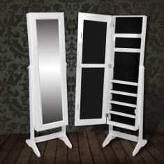 Dulap cu oglindă pentru bijuterii Alb - Dulap baie