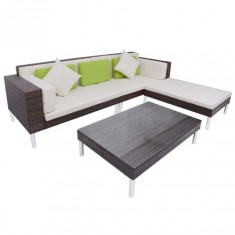 Set canapea de grădină din poliratan 17 piese, maro - Husa pat