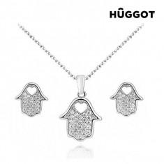 Set Placat cu Rodiu: Pandantiv şi Cercei cu Zirconii House Hûggot (45 cm) - Set bijuterii handmade si fashion