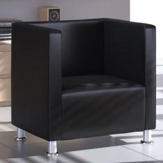 Fotoliu modern tapițat cu piele artificială neagră - Fotoliu living