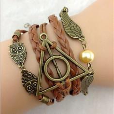 Bratara Harry Potter - Golden Snitch Owl Hotoaica Angel Wing Talismanele Mortii