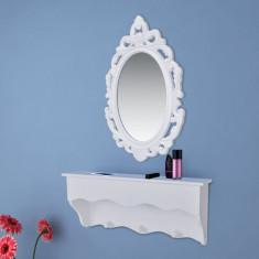 Set raft de perete pentru chei și bijuterii cu oglindă și cârlige - Dulap scule Service