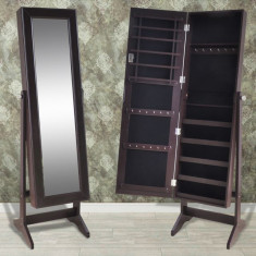 Cabinet maro pentru bijuterii cu suport și oglindă