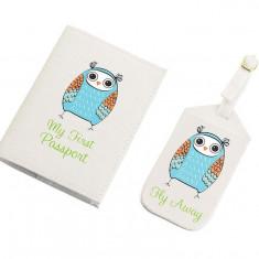 Albastru Owl Tag bagaje & Passport Cover Set