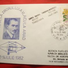 Plic special Aviatie -70 Ani de la zborul lui Vlaicu la Arad, stamp.liniara