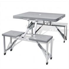 Set pliabil pentru camping cu masă și 4 scaune din aluminiu ușor, gri - Vesela camping