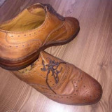 Pantofi Brogues Oxford din piele maro - Pantofi barbat, Marime: 44