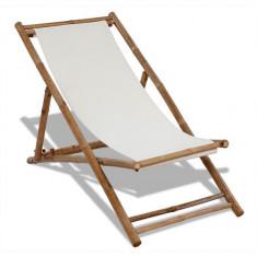 Scaun din lemn de bambus și pânză