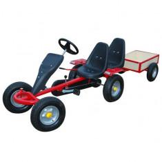 Kart pentru copii cu 2 scaune și remorcă Roșu - Tricicleta copii