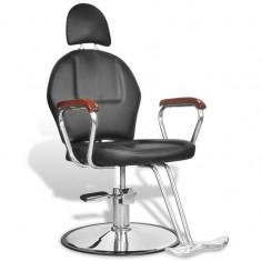 Scaun profesional de frizer, cu tetieră și piele artificială, negru - Scaun masaj