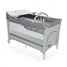 Patut pliabil cu 2 nivele Dream Grey 2016 - Patut pliant bebelusi Baby Design