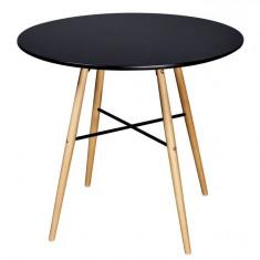 Masă de bucătărie rotundă negru mat