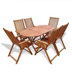 Set mobilier de exterior din lemn, șapte piese - accesoriu mobila